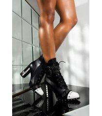 akira azalea wang theres no right or wrong chunky heel bootie