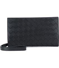 bottega veneta woven style rectangular clutch bag - black