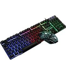 t6 conjunto de mouse y teclado luminoso juego de ordenador de escritorio siente mecánico