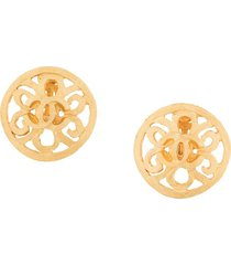 chanel pre-owned 1995 cutout round earrings - metallic