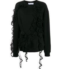 act n°1 round neck tulle ruffled sweatshirt - black