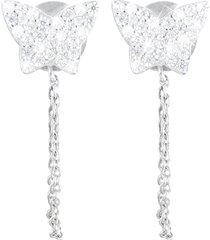 orecchini fiocco in argento 925 rodiato e zirconi per donna