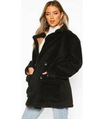 luxe lined teddy faux fur oversized coat, black