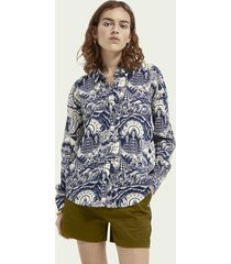 scotch & soda oversized blouse met print van katoen en modal