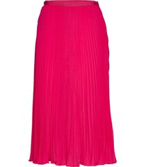 crepe light pleated midi skirt knälång kjol rosa french connection