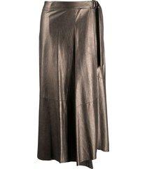 brunello cucinelli asymmetric metallic pleated skirt - gold