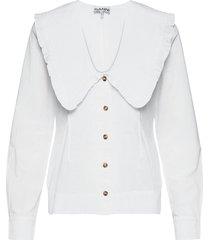 cotton poplin blus långärmad vit ganni