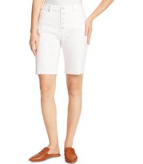 ella moss denim frayed-hem bermuda shorts