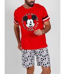 pyjama's / nachthemden admas for men pyjama kort t-shirt mickey all stars disney rood admas