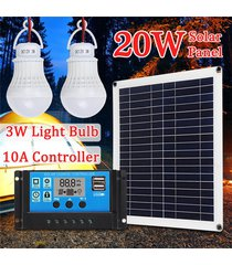 20w 18v del panel solar monocristalino cargador + 10a pwm usb de carga solar controlador + 2pcs 3w bombilla para acampar caravana senderismo iluminación al aire libre pesca - blanco antiguo