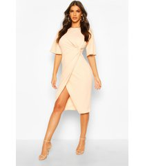 flared sleeve twist front midi dress, nude