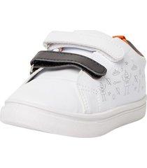 zapatilla basica velcro blanca  corona