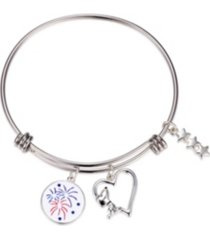 "peanuts ""snoopy"" americana fireworks heart adjustable bangle bracelet in stainless steel for unwritten silver plated charms"