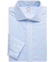 brooks brothers men's regent-fit striped dress shirt - light blue - size 17 33
