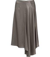 drapey satin skirt knälång kjol grå filippa k