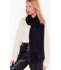 womens keepin' it warm fringed scarf - black