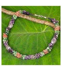amethyst and quartz beaded necklace, 'divine feminine' (thailand)