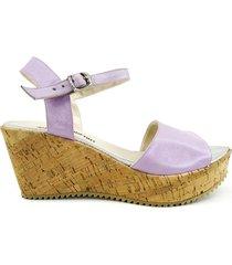 sandalia lila cuero euro confort