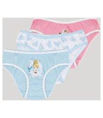 kit de 3 calcinhas infantis princesas multicor