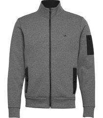 techno jacquard full zip jacket sweat-shirt trui grijs calvin klein