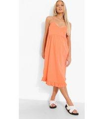 zwangerschap gesmokte midi jurk met geplooide zoom, coral
