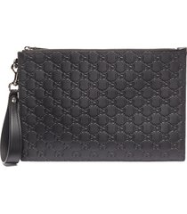 'avel' embossed leather clutch