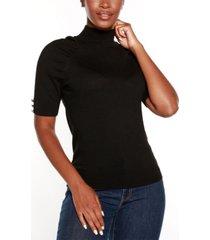 belldini black label puff sleeve mock neck sweater