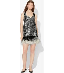 proenza schouler animal jacquard feathered dress black and white 8