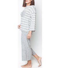 mood pajama stylish homewear- striped capri pajama set
