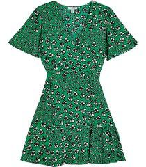 women's topshop floral tea dress, size 4 us - green