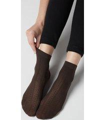 calzedonia women's patterned fishnet socks woman brown size tu