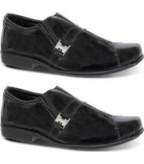 kit 2 pares sapato social infantil verniz couro leoppé - masculino