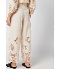 see by chloé women's cotton voile & guipure trousers - macadamia brown - eu 38/uk 10