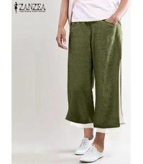 zanzea elástico de las mujeres cintura ancha piernas mdi pantorrilla pantalones casuales pantalones sueltos llanura -ejercito verde