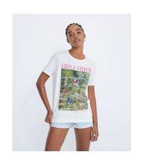 blusa alongada manga curta em algodão com estampa lilo & stitch | lilo & stitch | bege | p