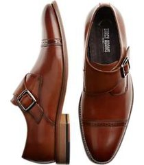 stacy adams desmond cognac cap-toe monk straps