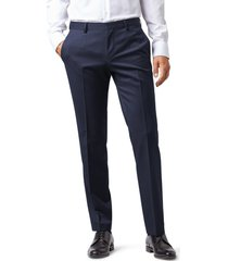 men's big & tall boss gibson cyl flat front solid slim fit wool dress pants, size 44 x r - blue