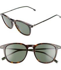 boss 51mm polarized gradient round sunglasses in dark havana at nordstrom