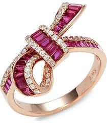 14k rose gold, ruby & diamond bow ring