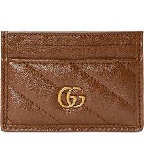 gucci gg marmont matalssé card case - brown