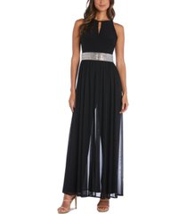 r & m richards petite embellished chiffon jumpsuit