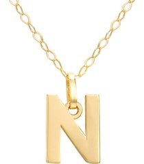 """initial pendant necklace with 18"""" chain in 14k yellow gold"""