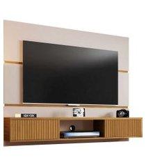 painel ambar p/ tvs até 65 polegadas off-white/cinamomo ripado móveis bechara