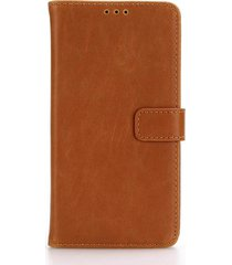 for lg x power retro crazy horse leather stand phone case - brown
