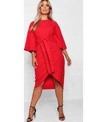 plus wikkel jurk met wijde kimonomouwen, rood
