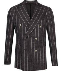 tagliatore vertical-stripe blazer - brown