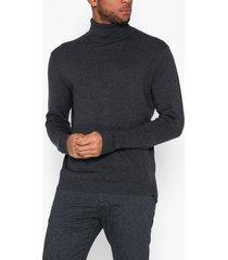 selected homme slhtower cot/silk roll neck b tröjor antracit