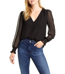 women's 1.state smocked detail button-up blouse, size x-small - black