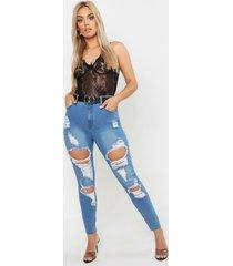 plus versleten high rise stretch skinny jeans, middenblauw