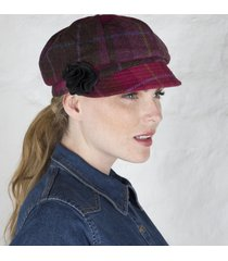 ladies irish wool newsboy cap pink